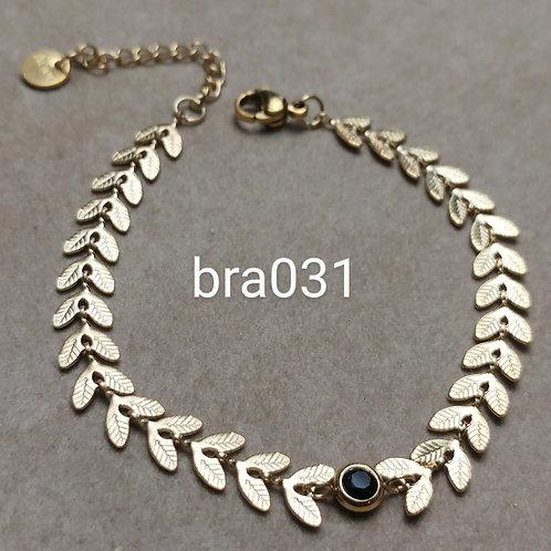 Bracelet Acier Lauriers noir- bra031