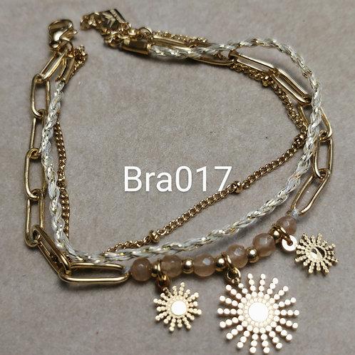 Bracelet Acier 3 rangs SOLEIL beige