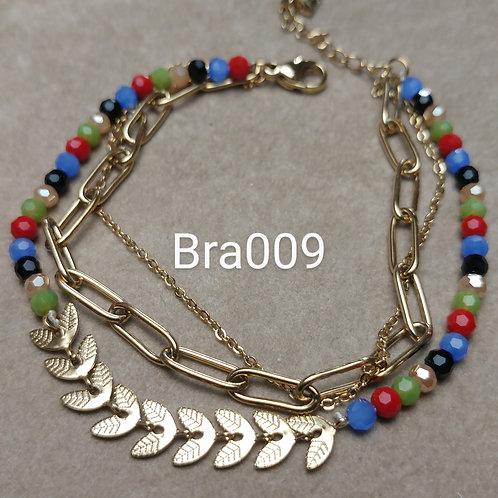 Bracelet Acier 3 rangs LAURIERS multicolore
