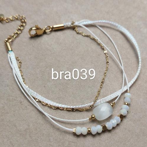 Bracelet Acier 4 rangs RUBAN BLANC