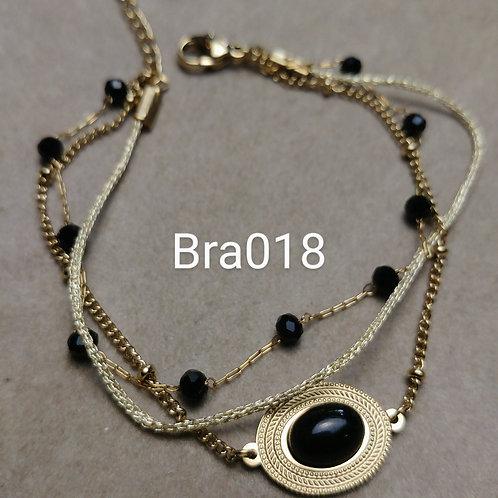 Bracelet Acier 3 rangs CABOCHON noir