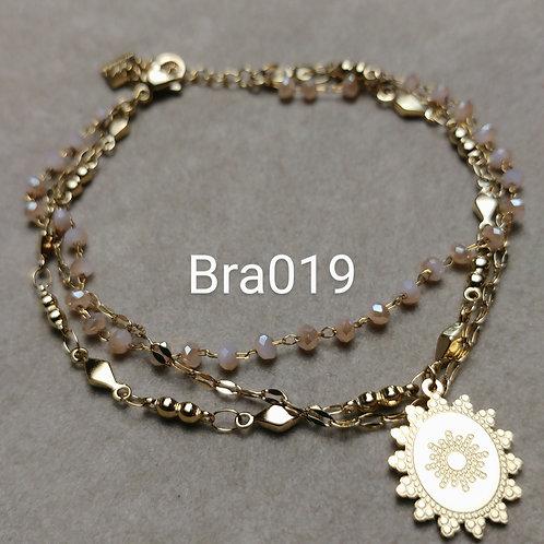 Bracelet Acier 3 rangs MEDAILLE beige