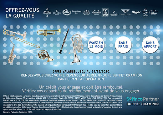 Achetez votre instrument Buffet Crampon et payez en 12 fois sans frais, sans apport