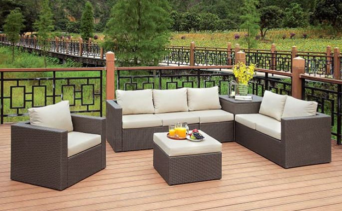 DAVINA PATIO SECTIONAL W/ OTTOMAN & STORAGE | CM-OS1818