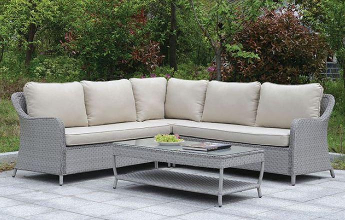 COGSWELL PATIO SECTIONAL W/ COFFEE TABLE | CM-OS1882
