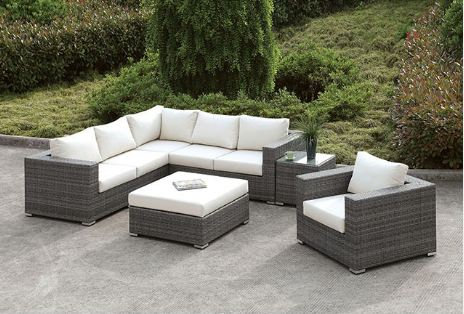 SOMANI L-SECTIONAL + CHAIR + COFFEE TABLE + END TABLE | CM-OS2128-SET10
