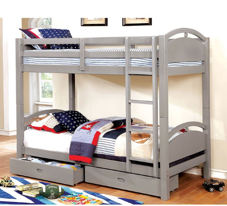 BEJA TWIN/TWIN BUNK BED W/ 2 DRAWERS | CM-BK610GY-T