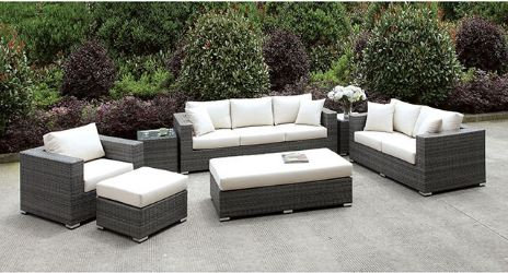 SOMANI 3 PC SET + 2 END TABLES + OTTOMAN + BENCH | CM-OS2128-SET16