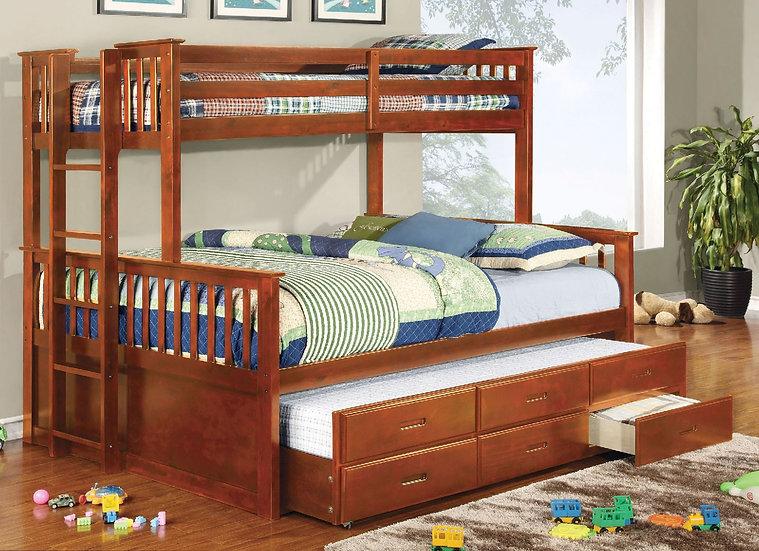 UNIVERSITY TWIN XL/QUEEN BUNK BED | CM-BK458Q-OAK