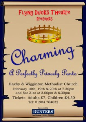 Poster advertising the pantomime Charming, performed by the Flying Ducks Theatre