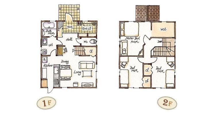 Mamanの家の参考間取りです。坪数ごとに全6種のプランがありますが、対面式キッチンやリビングに階段を配置する構造は共通しています。家族間のコミュニケーションが生まれやすい造りとなっています。