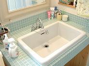 タイル貼りのオリジナル洗面化粧台