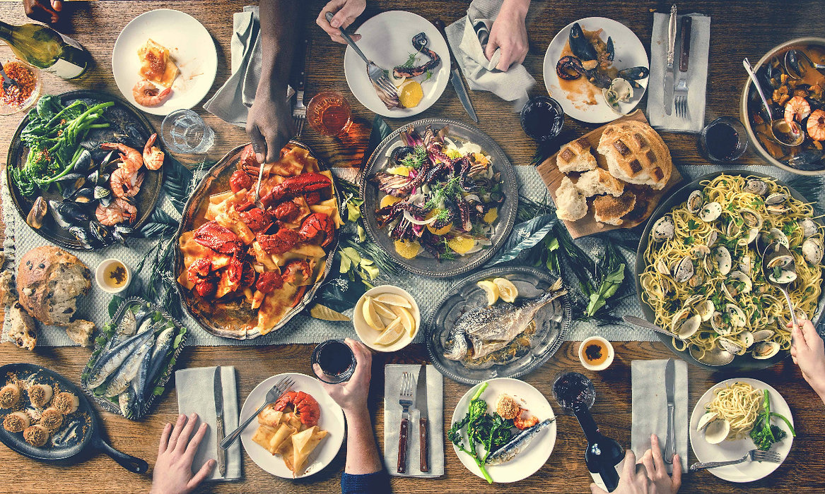 feast of the seven commercial food photography dinner beautiful dinner pasta seafood family italian