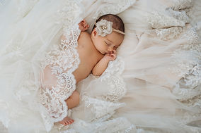 In-Home Newborn Photography with Wedding Dress