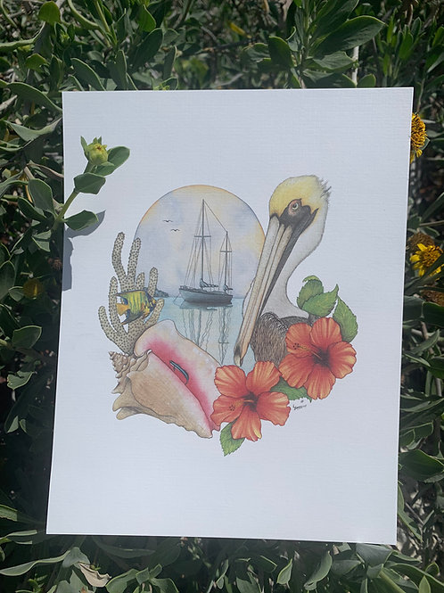 Florida Keys Watercolor Print