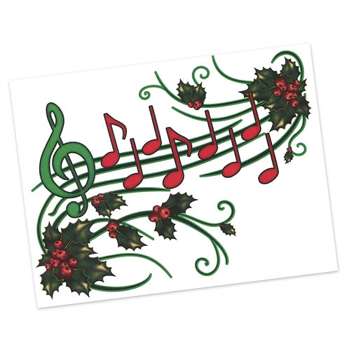 Holly & Music Staff Greeting Cards (Blank Inside)