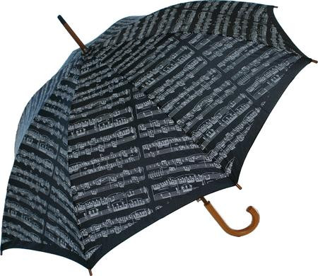 You'll be singing in the rain when you have a beautiful musical pattern on your umbrella! Durable, easy to use and stylish. Large executive size with a sturdy wooden handle.