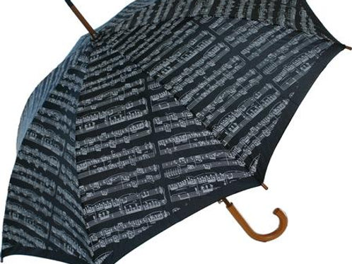 Sheet Music Umbrella (Black) Executive Size W/Wooden Handle