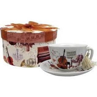 Tea Cup & Saucer with Gift Box - Elegant Music Design
