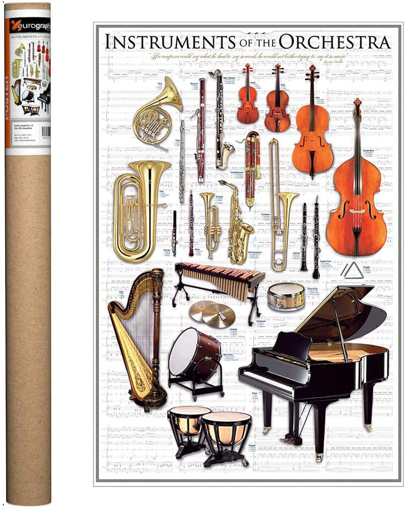 """This poster displays classical Orchestra Instruments beautifully on semi gloss sheet music background. A vertical display 24"""" x 36"""", the Orchestra Instrument Poster is a wonderful gift for any fan of the Orchestra!"""