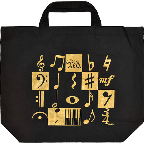 XL Tote Music Motif Gold