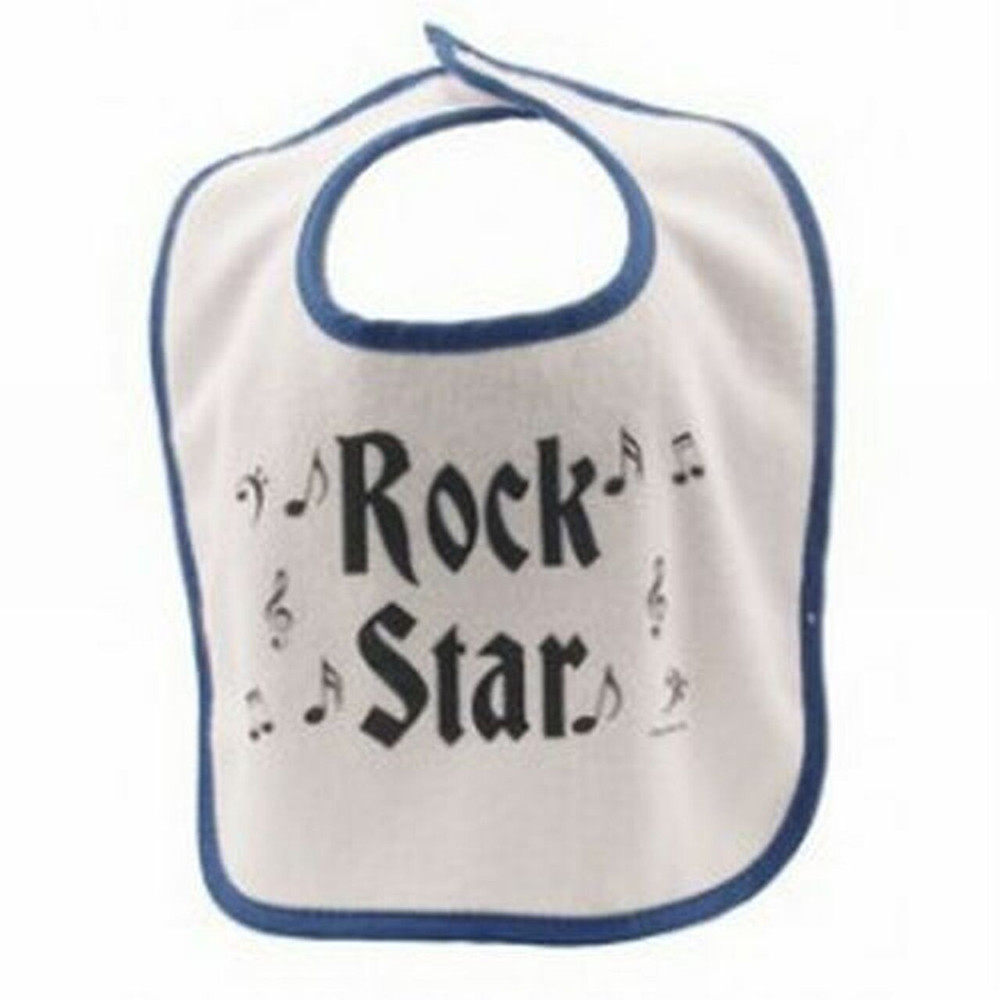"""Start your child out on the right path to becoming a Rock n'Roll star! This bib measures 10.5"""" tall X 9.0"""" wide."""