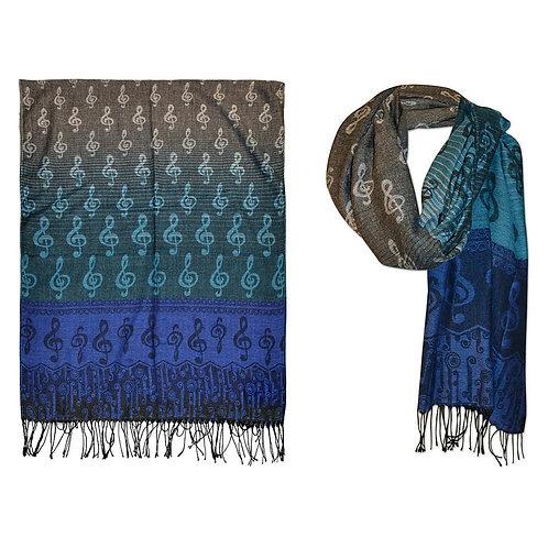 Pashmina Scarf Blue W/G-Clef