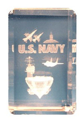 U.S. Navy 3-D Etched Crystal