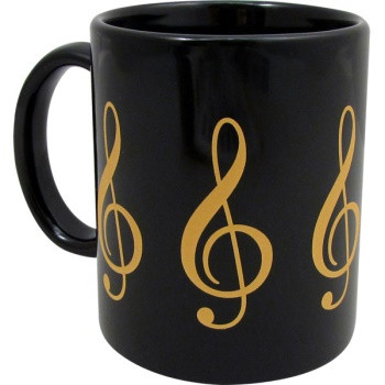 You'll love drinking from this 11oz, black and gold G-Clef mug.