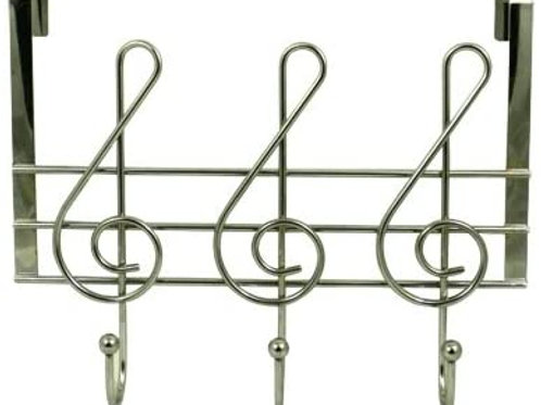 G-Clef Silver Tone Music Note Wall Hooks