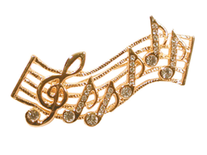 """Beautify your attire with a beautiful staff pin. Gold with rhinestones. Measures 2 1/8"""" long x 1 1/2"""" wide."""