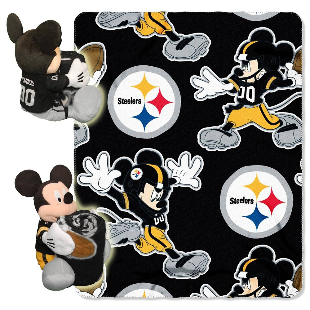 """This Mickey Mouse/Pittsburgh Steelers blanket is very soft and measures 50"""" x 30"""" 11"""". It even comes with a Mickey Mouse stuffed animal."""