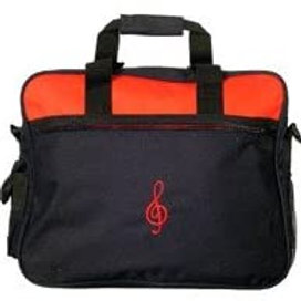"""Promotional 16"""" x 13"""" x 4"""" Embroidered G-Clef Portfolio Blk/W/Red Bag"""