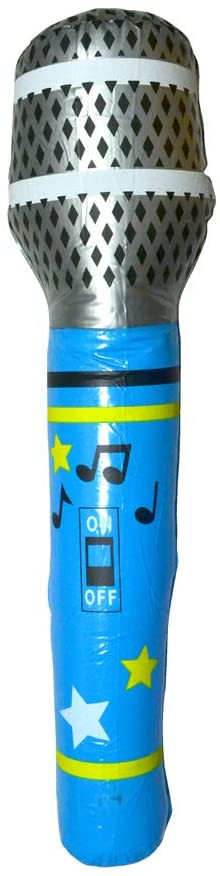 An inflatable giant microphone for music parties or pool parties. It measures 38 inches.