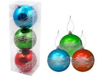 Set of 3 Music Staff Ornaments W/Silver Notes