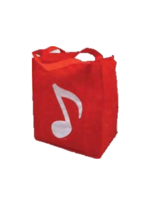 """Reusable Tote 11.5"""" x 13"""" x 5"""" Grocery Music Note (red)Assorted Colors"""