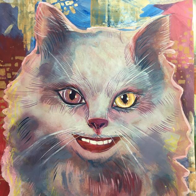 white smiling cat cheshire cat alice in wonderland