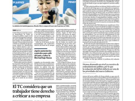 """Nuevo artículo de Joaquín Maudos en la Vanguardia  """"La deuda no es gratis"""""""