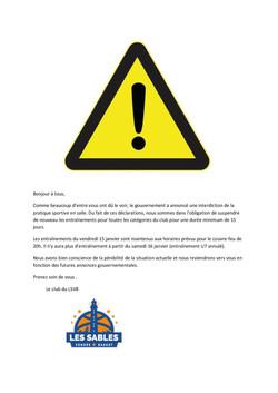 Suspension des Entrainements 15-01-2021-
