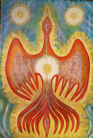 Firebird acrylic on canvas panel 60 x90