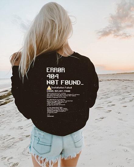 Nerissa Sipal Siyah Sırt Baskılı Error Sweatshirt