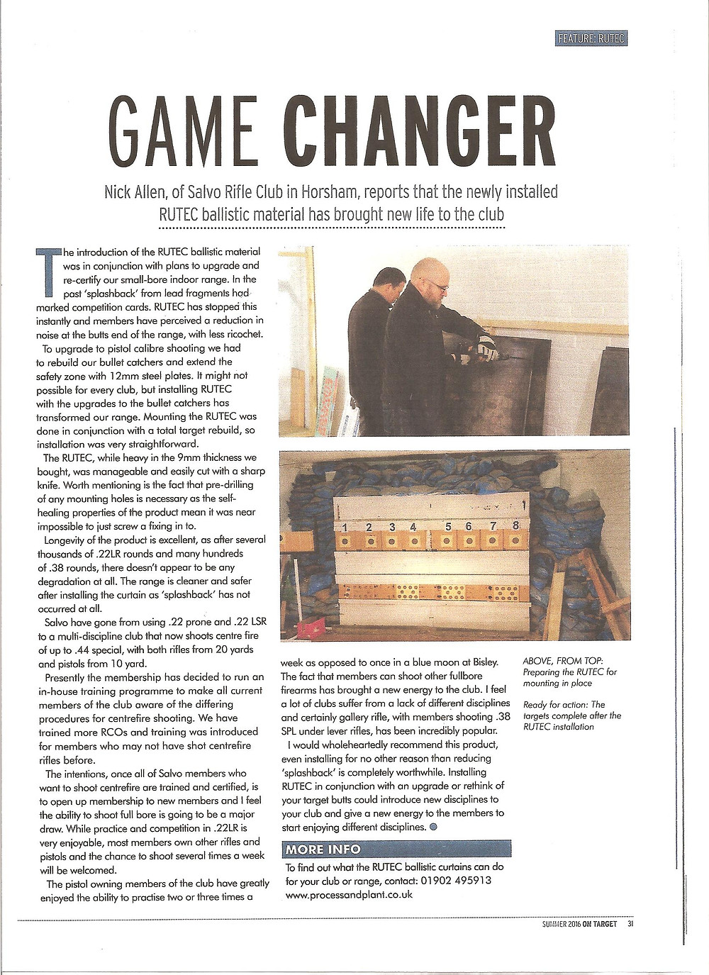 Nick Allen of Salvo rifle club explains how Rutec has brought new life to the club, the article shows photos of the old range with photos of the new targets using RUTEC below. A massive improvement!!