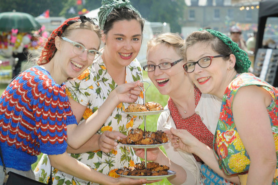 06/06/15 Strawberry Fair Pictures from Strawberry Fair, Cambridge Ladybirds WI from left Sophie Collins President, Alana Sinclair, Helen Radlett and Lucy Roberts. Picture: Keith Heppell