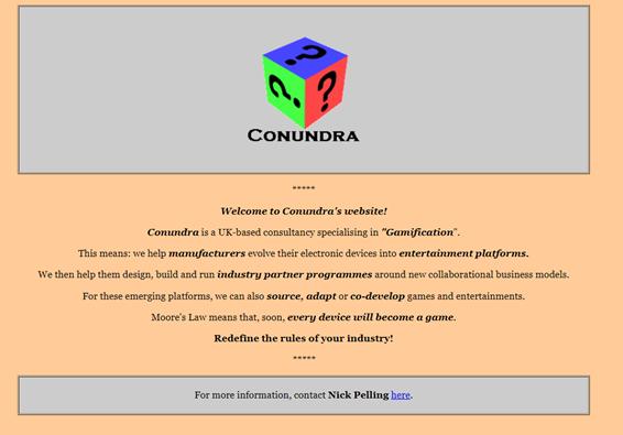 Home page sito web Conundra
