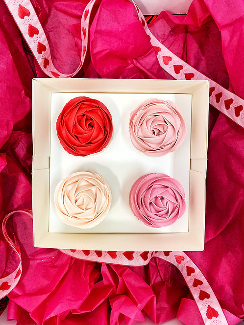 Piped Rose Cupcakes - 4 pack