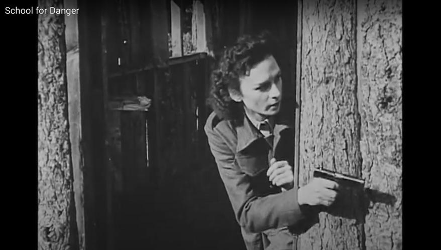Jacqueline Nearne in Battledress. PublicResourceOrg, School for Danger, online video recording, YouTube, 26 December 2010