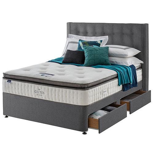 Miracoil7 Geltex Pillow top King Size mattress + Designer Base