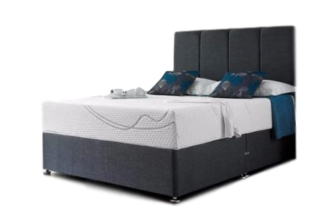 Cool Blue Memory Foam Small Double Divan + Headboard