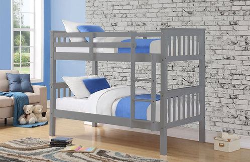 Wooden bunk bed with mattress