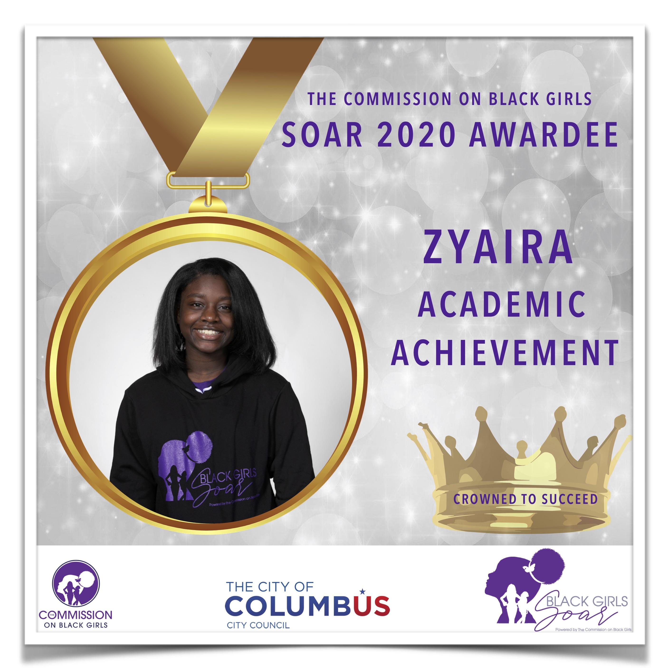 17 SOAR 2020 Zyaira Academic Achievement